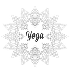 Zentangle Yoga monochrome design hand drawn vector
