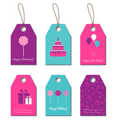 Happy Birthday gift tags vector image vector image