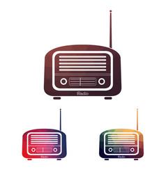 Set multicolors vintage radio vector