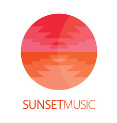 sunset music logo poster vector image vector image