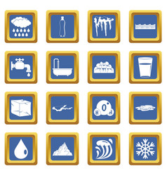 water icons set blue vector image vector image