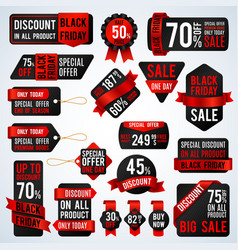 black friday sale banners and price tag labels vector image vector image