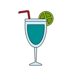 color image glass cup of cocktail with straw and vector image vector image