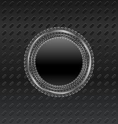 heraldic circle shield on titanium background - vector image vector image