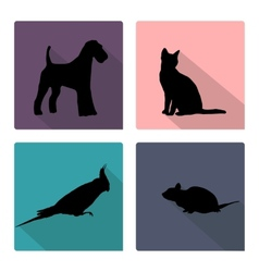 Icon set with silhouettes of pets vector image