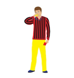 Referee with whistle and red card vector image vector image