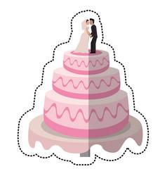 Wedding cake couple dessert vector