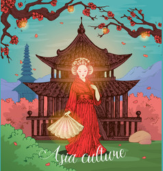 asian culture hand drawn design vector image