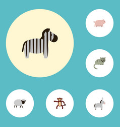 flat icons kitty jackass mutton and other vector image vector image