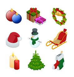Isometric xmas elements gift christmas tree new vector