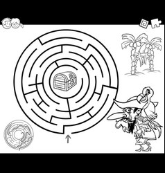 maze with pirate coloring page vector image
