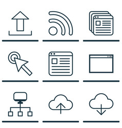 set of 9 internet icons includes save data wifi vector image
