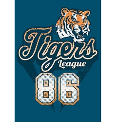 Tiger sports league jersey print vector image vector image