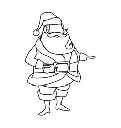 character santa claus christmas outline vector image