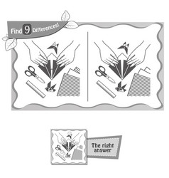 find 9 differences game origami vector image vector image