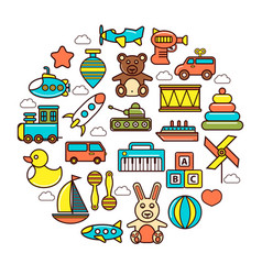 kids colorful plastic and soft toys in circle vector image