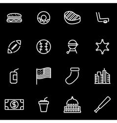 line usa icon set vector image