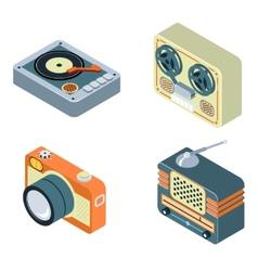 Retro media Radio reel tape recorder turntable vector image vector image