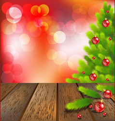 Wooden floor with Christmas tree on red bokeh vector image