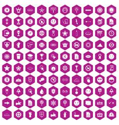 100 symbol icons hexagon violet vector