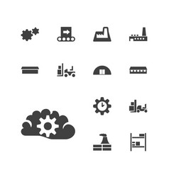 13 factory icons vector