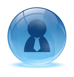 3D glass sphere and business man icon vector image
