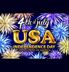 4 th of july usa gold balloons happy independence vector image