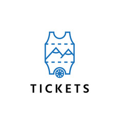 abstract ticket with wheel and mountains design vector image