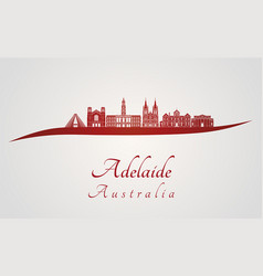 adelaide v2 skyline in red vector image