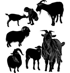 Animals goats collection silhouette vector