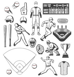 Baseball sport equipment and players outfit icons vector