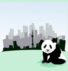 Beijing skyline with panda vector