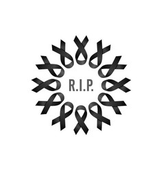 Black ribbon rest in peace wreath with english vector