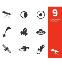 black space icons set vector image