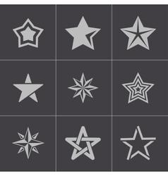 Black stars icons set vector
