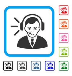 call center operator framed dolor icon vector image