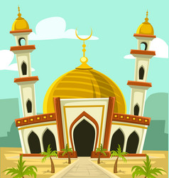 Cartoon mosque building middle east vector