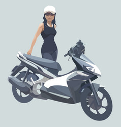 cartoon woman standing next to a black motorcycle vector image