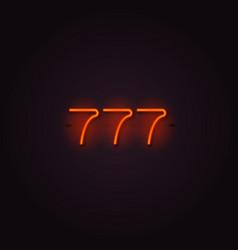 Casino 777 neon signboard vector