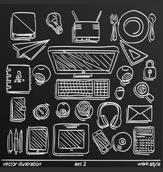 Chalkboard sketch work style set icon 2 vector