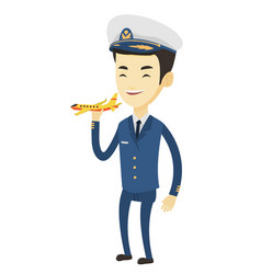 cheerful airplane pilot with model of airplane vector image