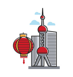 chinese symbols architecture and lantern shanghai vector image