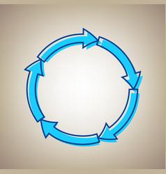 circular arrows sign sky blue icon with vector image vector image