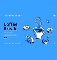 coffee break isometric landing page breakfast vector image