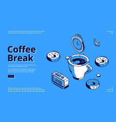 Coffee break isometric landing page breakfast vector