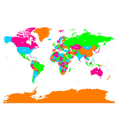 Colorful political map of world with vector