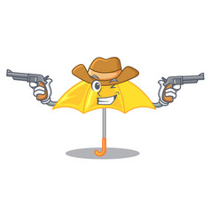 Cowboy yellow umbrella isolated on a mascot vector