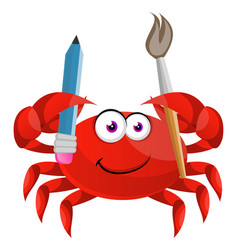 Crab with paintbrush on white background vector