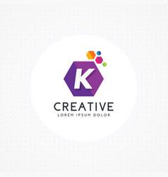 creative hexagonal letter k logo vector image