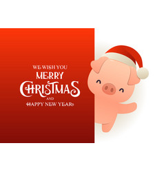 cute pig in santa hat stands behind red signboard vector image